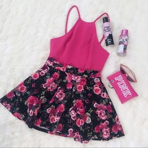 Charlotte Russe Floral Flare Circle Mini Skirt